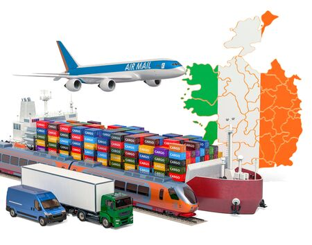 Cargo shipping and freight transportation in Ireland by ship, airplane, train, truck and van. 3D rendering isolated on white background