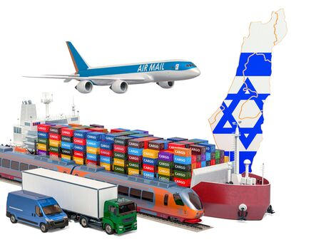 Cargo shipping and freight transportation in Israel by ship, airplane, train, truck and van. 3D rendering isolated on white background