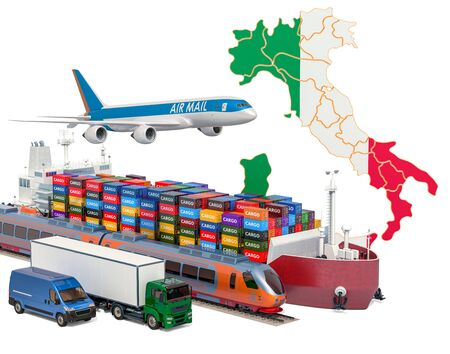 Cargo shipping and freight transportation in Italy by ship, airplane, train, truck and van. 3D rendering isolated on white background Stock Photo