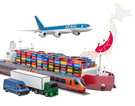 Cargo shipping and freight transportation in Japan by ship, airplane, train, truck and van. 3D rendering isolated on white background Stock Photo