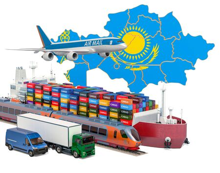 Cargo shipping and freight transportation in Kazakhstan by ship, airplane, train, truck and van. 3D rendering isolated on white background Stock Photo