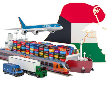 Cargo shipping and freight transportation in Kuwait by ship, airplane, train, truck and van. 3D rendering isolated on white background