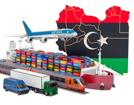 Cargo shipping and freight transportation in Libya by ship, airplane, train, truck and van. 3D rendering isolated on white background Stock Photo