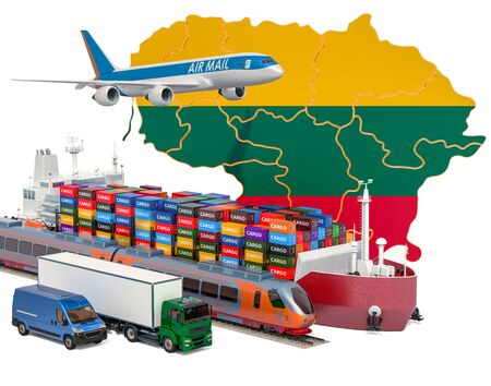 Cargo shipping and freight transportation in Lithuania by ship, airplane, train, truck and van. 3D rendering isolated on white background