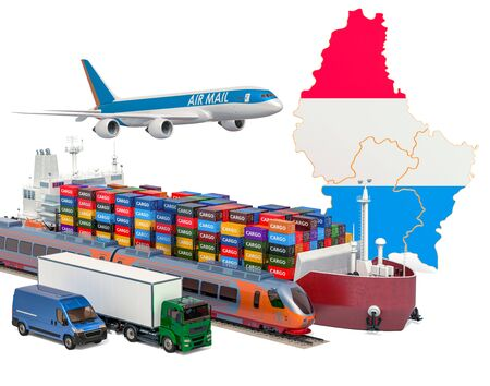 Cargo shipping and freight transportation in Luxembourg by ship, airplane, train, truck and van. 3D rendering isolated on white background