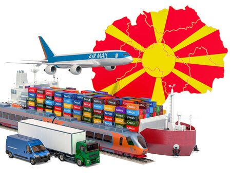 Cargo shipping and freight transportation in Macedonia by ship, airplane, train, truck and van. 3D rendering isolated on white background