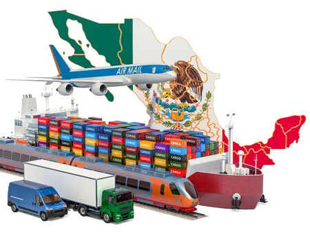 Cargo shipping and freight transportation in Mexico by ship, airplane, train, truck and van. 3D rendering isolated on white background Stock Photo - 129300918