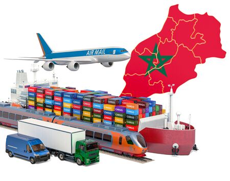 Cargo shipping and freight transportation in Morocco by ship, airplane, train, truck and van. 3D rendering isolated on white background