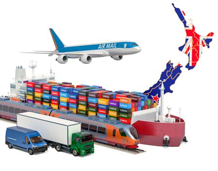 Cargo shipping and freight transportation in New Zealand by ship, airplane, train, truck and van. 3D rendering isolated on white background