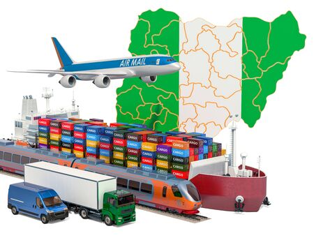 Cargo shipping and freight transportation in Nigeria by ship, airplane, train, truck and van. 3D rendering isolated on white background Stock Photo