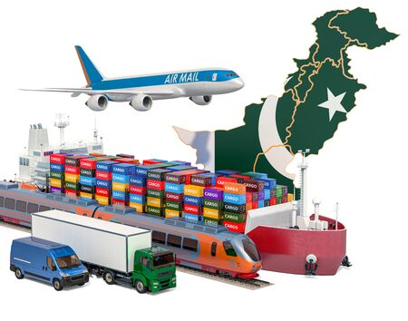 Cargo shipping and freight transportation in Pakistan by ship, airplane, train, truck and van. 3D rendering isolated on white background Stock Photo