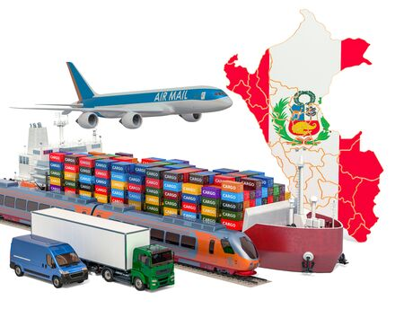 Cargo shipping and freight transportation in Peru by ship, airplane, train, truck and van. 3D rendering isolated on white background Stock Photo - 129300925