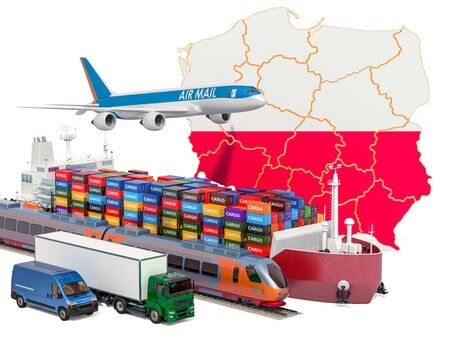 Cargo shipping and freight transportation in Poland by ship, airplane, train, truck and van. 3D rendering isolated on white background Stock Photo