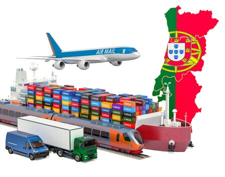 Cargo shipping and freight transportation in Portugal by ship, airplane, train, truck and van. 3D rendering isolated on white background