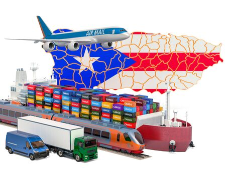 Cargo shipping and freight transportation in Puerto Rico by ship, airplane, train, truck and van. 3D rendering isolated on white background