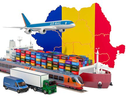 Cargo shipping and freight transportation in Romania by ship, airplane, train, truck and van. 3D rendering isolated on white background Stock Photo