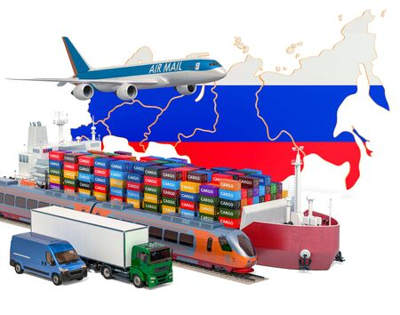 Cargo shipping and freight transportation in Russian Federation by ship, airplane, train, truck and van. 3D rendering isolated on white background Stock Photo