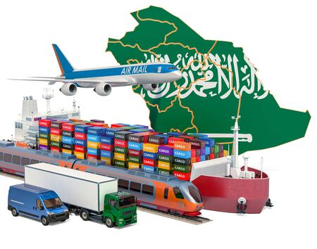 Cargo shipping and freight transportation in Saudi Arabia by ship, airplane, train, truck and van. 3D rendering isolated on white background Stock Photo - 129300933