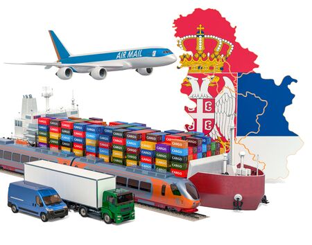 Cargo shipping and freight transportation in Serbia by ship, airplane, train, truck and van. 3D rendering isolated on white background Stock Photo - 129300936