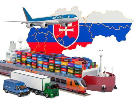 Cargo shipping and freight transportation in Slovakia by ship, airplane, train, truck and van. 3D rendering isolated on white background