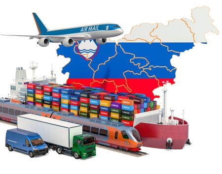 Cargo shipping and freight transportation in Slovenia by ship, airplane, train, truck and van. 3D rendering isolated on white background Stock Photo
