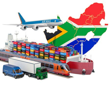 Cargo shipping and freight transportation in South Africa by ship, airplane, train, truck and van. 3D rendering isolated on white background
