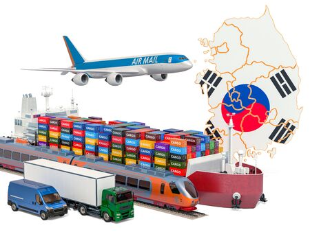 Cargo shipping and freight transportation in South Korea by ship, airplane, train, truck and van. 3D rendering isolated on white background