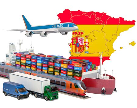Cargo shipping and freight transportation in Spain by ship, airplane, train, truck and van. 3D rendering isolated on white background Stock Photo - 129301009