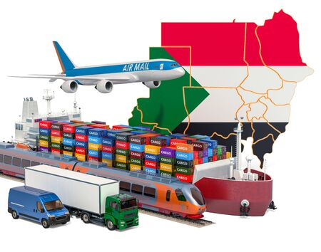 Cargo shipping and freight transportation in Sudan by ship, airplane, train, truck and van. 3D rendering isolated on white background Stock Photo