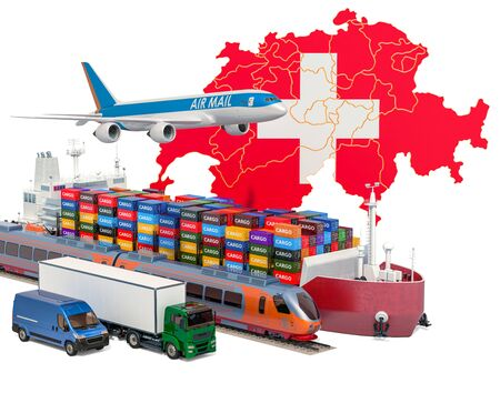 Cargo shipping and freight transportation in Switzerland by ship, airplane, train, truck and van. 3D rendering isolated on white background Stock Photo