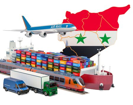 Cargo shipping and freight transportation in Syria by ship, airplane, train, truck and van. 3D rendering isolated on white background Stock Photo