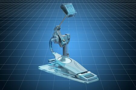 Visualization 3d cad model of Bass Drum Pedal, blueprint. 3D rendering Stock Photo - 129418192