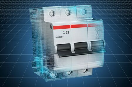 Visualization 3d cad model of three-pole miniature circuit breaker, blueprint. 3D rendering