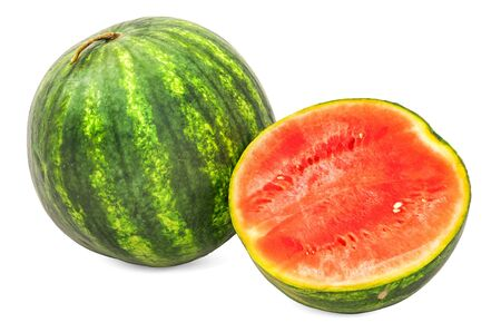 Watermelon 3d rendering with realistic texture isolated on white background