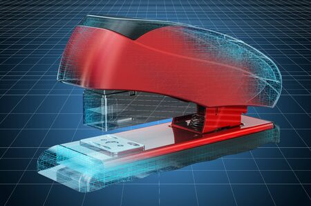 Visualization 3d cad model of stapler, blueprint. 3D rendering