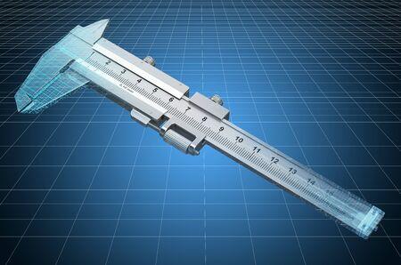 Visualization 3d cad model of vernier caliper, blueprint. 3D rendering