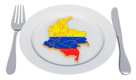 Columbian cuisine concept. Plate with map of Columbia. 3D rendering