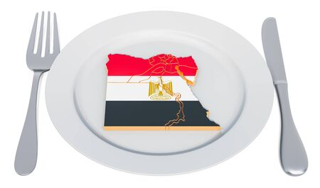 Egyptian cuisine concept. Plate with map of Egypt. 3D rendering Stockfoto
