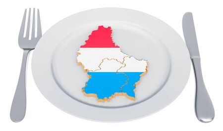Luxembourg cuisine concept. Plate with map of Luxembourg. 3D rendering Stockfoto