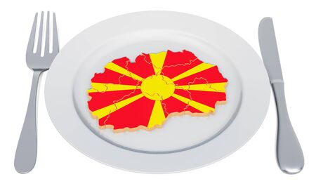 Macedonian cuisine concept. Plate with map of Macedonia. 3D rendering Stockfoto