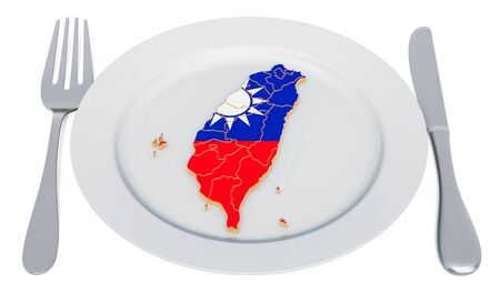 Thai cuisine concept. Plate with map of Taiwan. 3D rendering