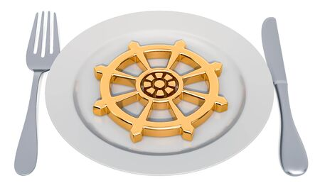 Buddhist Lent concept. Plate with Dharmachakra. 3D rendering isolated on white background Stockfoto - 130556037