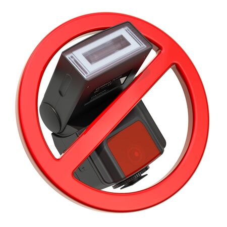 Forbidden sign with flash. Do not use flash photography concept, 3D rendering isolated on white background