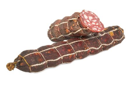 Dry Sausage and its cross-section 3d rendering with realistic texture isolated on white background Stockfoto