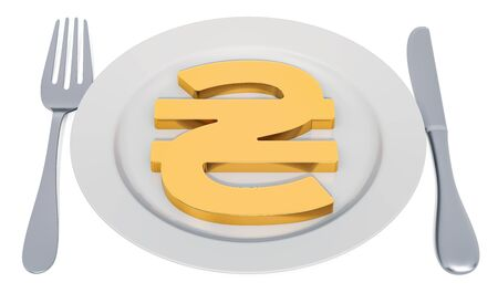Plate with hryvnia symbol, 3D rendering isolated on white background