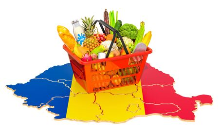 Market basket or purchasing power in Romania concept. Shopping basket with Romanian map, 3D rendering isolated on white background Stockfoto