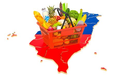 Market basket or purchasing power in Taiwan concept. Shopping basket with Thai map, 3D rendering isolated on white background