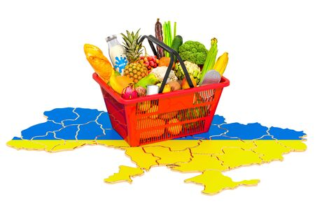 Market basket or purchasing power in Ukraine concept. Shopping basket with Ukrainian map, 3D rendering isolated on white background