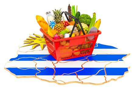 Market basket or purchasing power in Uruguay concept. Shopping basket with Uruguayan map, 3D rendering isolated on white background