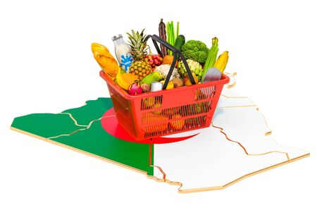 Market basket or purchasing power in Algeria concept. Shopping basket with Algiers map, 3D rendering isolated on white background Stok Fotoğraf